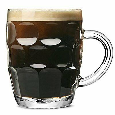 Set Of Dimpled Pint Glasses 560ml Traditional Beer English Pub Tankard Mugs Cups