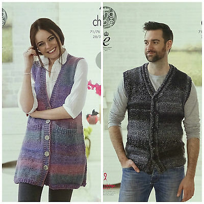 17e6243da KNITTING PATTERN Ladies Mens Easy Knit V-Neck Waistcoat Chunky King Cole  4635