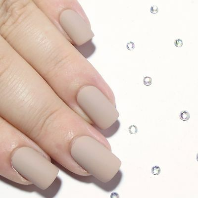 Short Matte Nude False Nails Hand Painted Press On Fake Artificial Nail Glue On