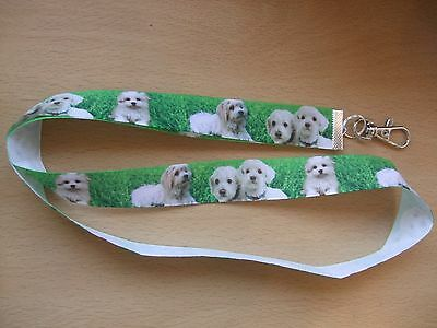 Handmade Maltese Dogs Lanyard Walking Ribbon Puppy Whistle Training Clicker ID