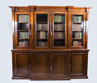 Antique Victorian Flame Mahogany Bookcase c.1850