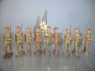 "VINTAGE ELASTOLIN  MODELS No. XX  "" 9 PLASTIC BRITISH SOLDIERS"""