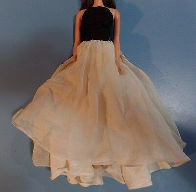 Vintage Barbie Doll Clothes - Black Lace and Cream Barbie Doll Clone Gown