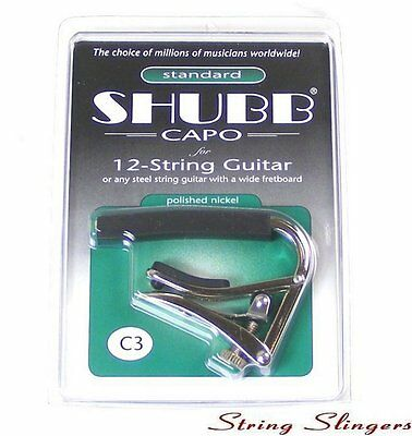 Shubb C3 Nickel plated Capo for 12-string, NEW ROLLER DESIGN