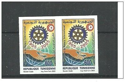 2005- Tunisia- Imperforated pair- Centennial of Rotary International