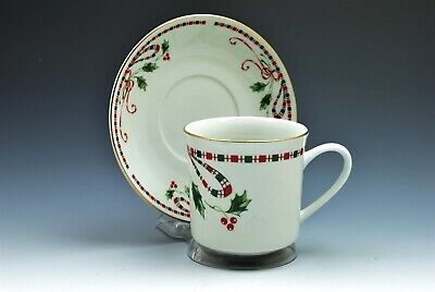 Home Essentials Holiday Red Green Holly Berries Tartan Ribbon Cup and Saucer (s)