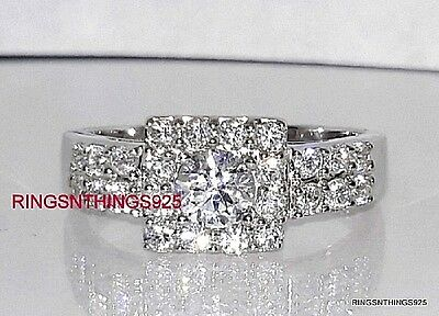 925 Sterling Silver Round Cut Clear CZ Square Engagement Ring Size 5 Women's