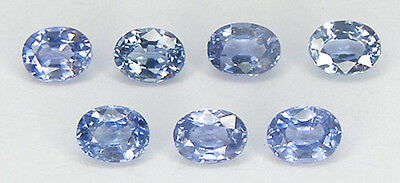 LOT DE 7 PCS. / 1,55CT. TRES LIMPIDE SAPHIR CEYLAN BLEU NATUREL T. OVALE 4x3 MM.