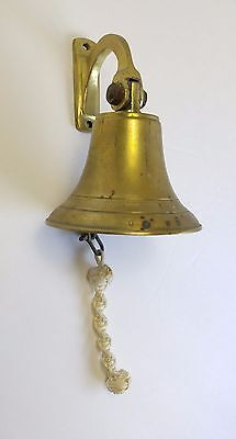 Antique Solid Brass Ship's Bell Nautical Rope Wall Bracket