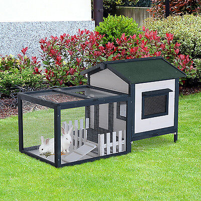 PawHut Wooden Rabbit Hutch House Hen Chicken Coop Poultry Wood Cage w/ Run Fence