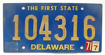 Delaware 1971 Vintage License Plate Garage Old Car Auto Tag Riveted Numbers