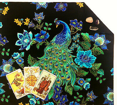 "Lined Peacock Tarot Cloth or Altar Cloth 18""x20"" Floral Midnight Plumes SPClo"