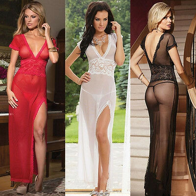 Women's Hot Lingerie Lace Dress Babydoll Sleepwear Underwear G-String Nightwear