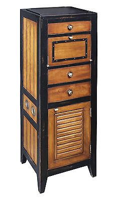 AUTHENTIC MODELS Cape Cod Black Storage Locker & Cabinet Nautical Furniture