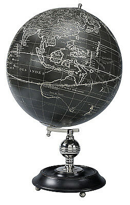 AUTHENTIC MODELS Vaugondy 1745 Black World Globe Antique Reproduction