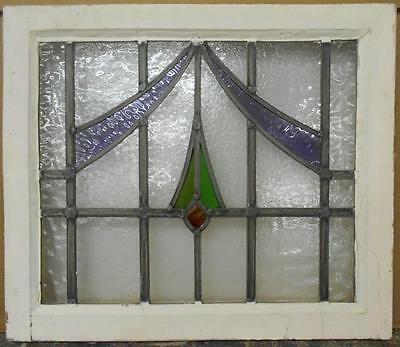 "MID SIZED OLD ENGLISH LEADED STAINED GLASS WINDOW Floral Drop 22.25"" x 19"""