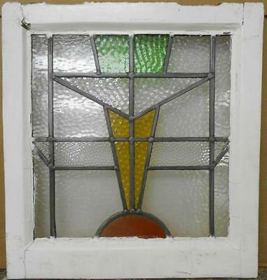 """OLD ENGLISH LEADED STAINED GLASS WINDOW Pretty Abstract Design 17.75"""" x 19"""""""