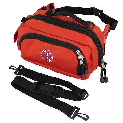 LINE2design Deluxe First Aid Fanny Pack Large Paramedic Mesh Pockets Bag Red