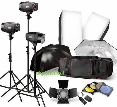 3 * 180W 540W STROBE STUDIO FLASH LIGHT KIT LIGHTING set Canon Nikon Umbrella*