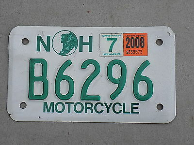 New Hampshire NH Motorcycle License Plate White & Green ~FastFreeShip