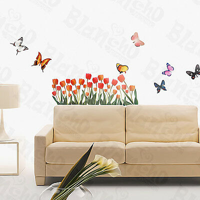 Tulip & Butterfly - Wall Decals Stickers Appliques Home Decor