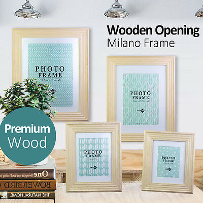 """Wooden Opening Milano Natural Photo Picture Frame 5x7"""" 8x10"""" 8x12"""" A4 12x17"""" A3"""