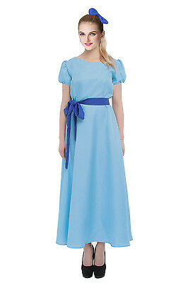 Women Blue Short Sleeves Princess Cosplay Costume Dresses