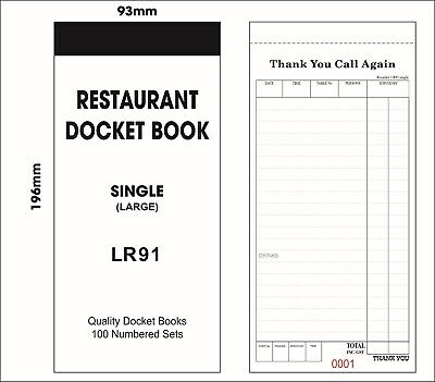 Docket Books (Large) Table Order Book- Single Sheet- LR-91 (100 Books/ Box)