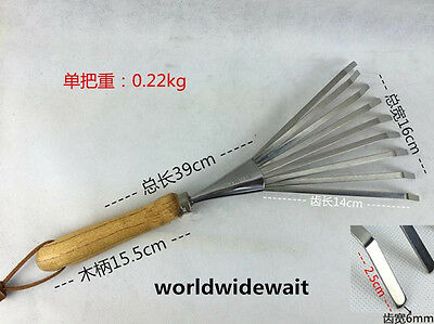 Stainless Steel Pitchfork Grass Rake Harrow For Fit Sweeping Leaves Garden Tool