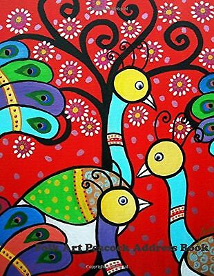 Folk Art Peacock Address Book: Large Print New