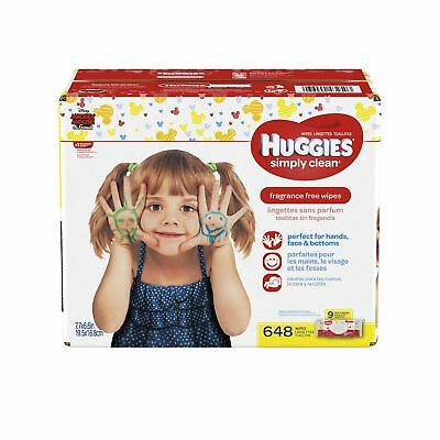 HUGGIES Simply Clean Baby Wipes Unscented Soft Pack  72 Count Pack of 9 (... New