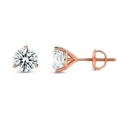 2.55Ct Round Earrings 14K Solid White Gold Basket Studs Brilliant Screw-Back