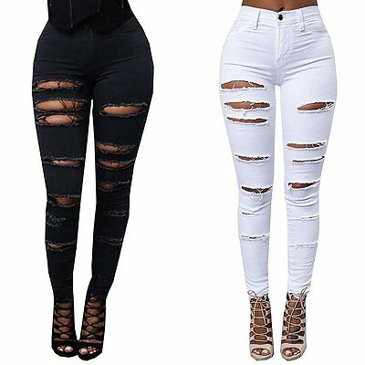 Fashion Women Stretch Ripped Denim Skinny Jeans Pants High Waist Pencil Trousers