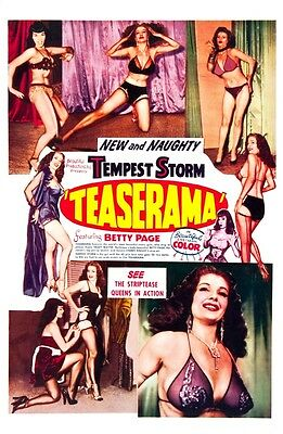 Teaserama 1950's Pin Up Burlesque  A3 Film Poster Reprint Starring Bettie Page