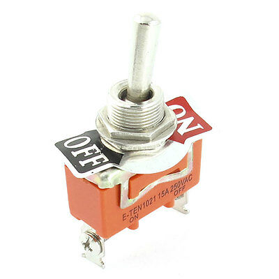 SPST ON/OFF 2 Screw Terminals Momentary Toggle Switch AC 250V 15A E-TEN 1021