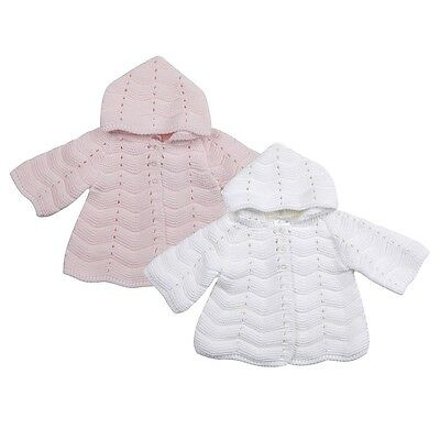 Beautiful Traditional Baby Girls Matinee Coat Cardigan Pink White By Dizzy Daisy