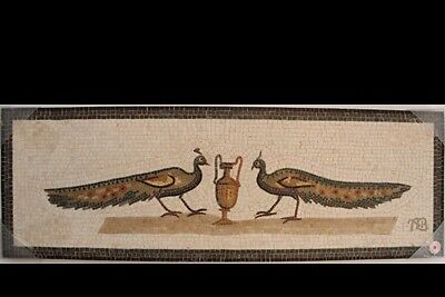 Roman style Mosaic Stone Panel with Peacocks With Amphora