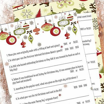 40 QUESTION CHRISTMAS Quiz/Party Game: Movies, Music, Panto
