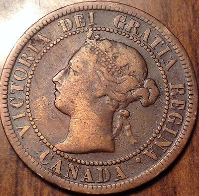 1892 Key Date Queen Victoria Canada Large Cent Free S/h Canada/usa !!