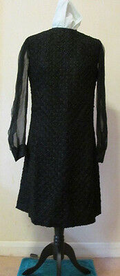 Late 1950's Black Ribbon Lace Sheath Dress, Chiffon Sleeves, 16-18 Petite, VVGC