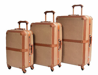 4 Wheel Retro Vintage Style Metal Frame Suitcase PC Hardshell Travel Luggage