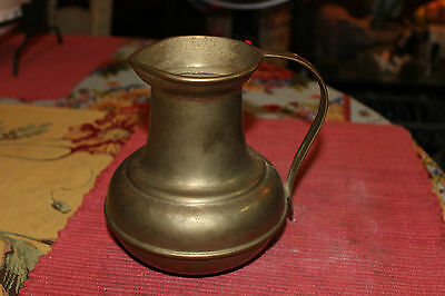 Vintage Middle Eastern Bronze Brass Water Pitcher W/Large Handle-Country Decor