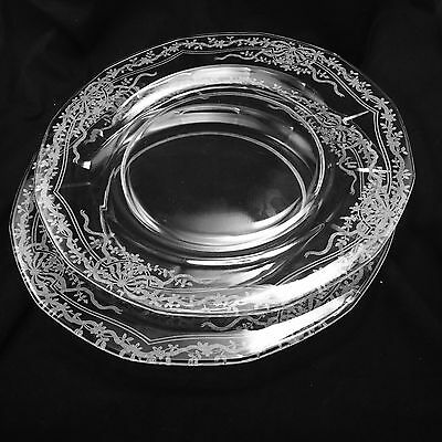"""Fostoria June Luncheon Crystal Clear Depression 8 7/8"""" Salad Lunch Lot Of 2"""