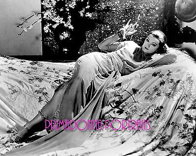 MYRNA LOY 8X10 Lab Photo B&W 1930s Smoking & Relaxing in Bed Sexy Oriental