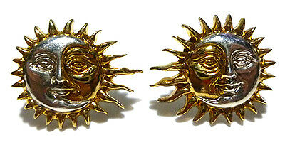 "3/4"" Sergio Bustamante Mexico Sterling Silver Two Tone Sun Moon Earrings"