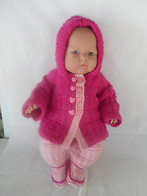 Hand knitted dolls clothes (Three piece Winter set), suit 46cm Berenguer dolll
