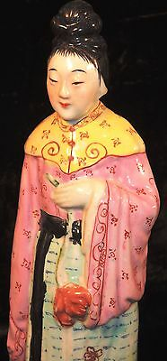 Antique 19th c. Qing Chinese Porcelain Lovely Wealthy Noble Woman Statue SIGNED