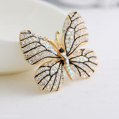 Charms Butterfly Rhinestone Brooch Pin Banquet Badge Bridal Wedding Jewelry Gift