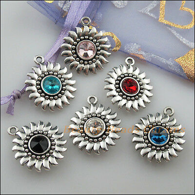 6Pcs Tibetan Silver Mixed Crystal Sun Flower Charms Pendants 20x24mm