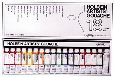 Stationery Holbein Artist Gouache Set : 18 x 5ml tubes FREE SHIPPING